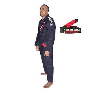 Kimono Jiu-JItsu Xtra-Lite Preto com Faixa Preta Brazil Combat