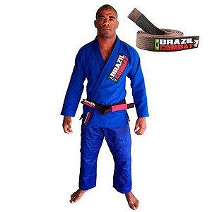 Kimono Jiu-JItsu Starter Azul com Faixa Marrom Brazil Combat
