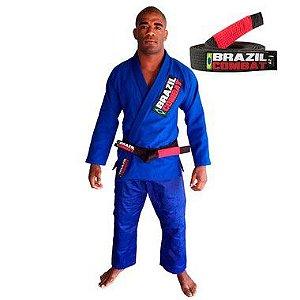 Kimono Jiu-JItsu Starter Azul com Faixa Preta Brazil Combat