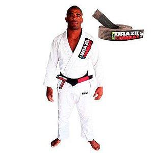 Kimono Jiu-JItsu Starter Branco com Faixa Marrom Brazil Combat