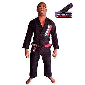 Kimono Jiu-JItsu Starter Preto com Faixa Roxa Brazil Combat