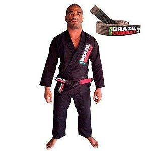 Kimono Jiu-JItsu Starter Preto com Faixa Marrom Brazil Combat
