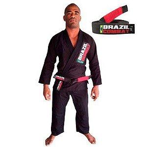 Kimono Jiu-JItsu Starter Preto com Faixa Preta Brazil Combat