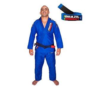 Kimono Jiu-Jitsu Xtra-Lite Azul com Faixa Azul Brazil Combat