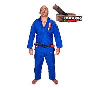 Kimono Jiu-JItsu Xtra-Lite Azul com Faixa Marrom Brazil Combat