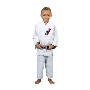 Kimono Jiu-Jitsu Infantil Reforçado Branco Brazil Combat