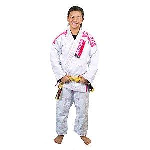Kimono Jiu-JItsu Feminino Infantil Xtra-Lite Branco com Rosa Brazil Combat