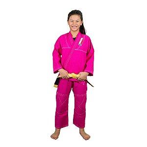 Kimono  Jiu-Jitsu Infantil Reforçado Rosa Brazil Combat