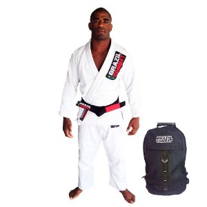 Kimono Starter Branco Mais Mochila Kimono Preta Brazil Combat