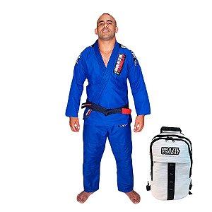 Kimono JiuJitsu XtraLite Azul Mais Mochila Kimono Branca Brazil Combat