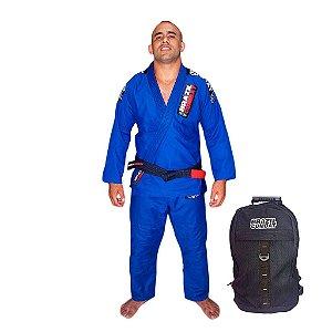 Kimono JiuJitsu XtraLite Azul Mais Mochila Kimono Preta Brazil Combat