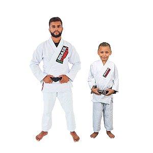 Kit 1 Kimono Branco Adulto Starter e 1 Infantil Reforçado