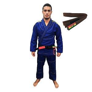 Kimono Jiu-JItsu ZComp Azul com faixa Marrom Zion