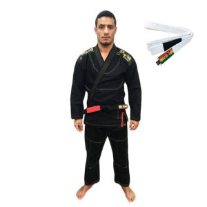 Kimono Jiu-JItsu ZComp Preto com Faixa Branca Zion