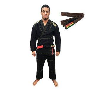 Kimono Jiu-JItsu ZComp Preto com Faixa Marrom Zion