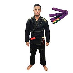 Kimono Jiu-JItsu ZComp Preto com Faixa Roxa Zion