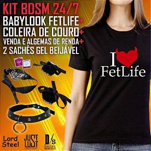 Kit BDSM Especial 24/7 - Babylook FetLife + Coleira + Algema e Tapa olhos + Sachês