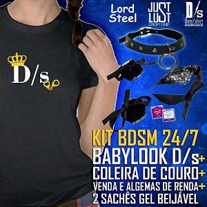 Kit BDSM Especial 24/7 - Babylook D/s + Coleira + Algema e Tapa olhos + Sachês