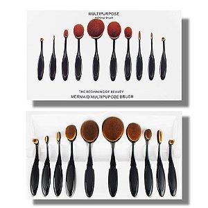 Kit Pinceis Ovais para maquiagem com 10 peças