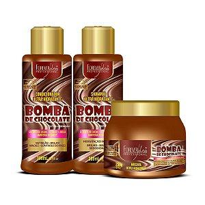 Kit Bomba de Chocolate com Shampoo Condicionador e Máscara 250g Forever Liss