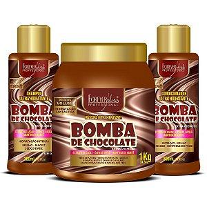 Kit Bomba de Chocolate com Shampoo Condicionador e Máscara 1kg Forever Liss