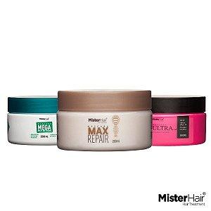 Cronograma Capilar - Cabelos Sensíveis - Mister Hair - 200ml (Max + Ultra + Mega)