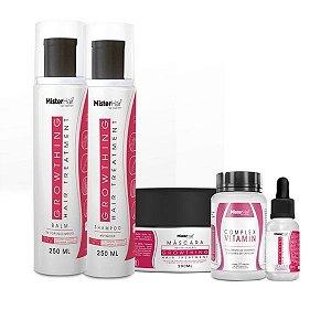 Kit Crescimento e Fortalecimento (Shampoo + Balm + Tônico + Suplemento + Máscara)