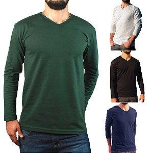 KIT 4 Camiseta Masculina Slim Fit GOLA V Manga Longa - 100% Algodão (1 Verde, 1 Preta, 1 Branca, 1 Azul)