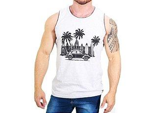 Camiseta Regata BRANCA MESCLA 100% Algodão Hawaian Vibes