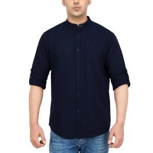 CAMISA SLIM FIT AZUL PRIEST NECK - GOLA PADRE