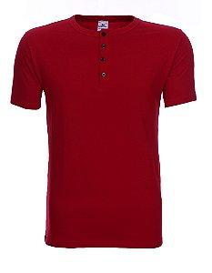 Camiseta Henley Summer AZUL/VERMELHA/AMARELO MC - SLIM FIT 100% ALGODÃO