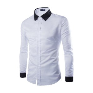 CAMISA SLIM FIT SOCIAL BUSINESS PLAIN BRANCA / Gola & Punho Azuis