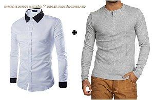 KIT COM 2 PEÇAS - 1 Camisa Slim Fit Social Executiva (Em 3 Cores) + Malha Henley Canelado CINZA