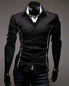 Camisa Slim Fit MOD J Devivo PRETA