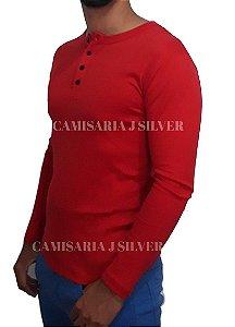 Camiseta HENLEY Summer Slim Fit Manga Longa Gola Redonda VERMELHO