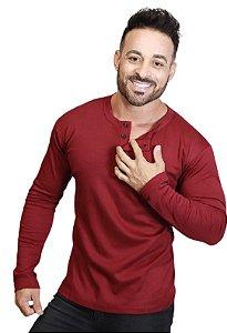 Camiseta HENLEY Canelada Slim Fit Manga Longa Gola Redonda VINHO