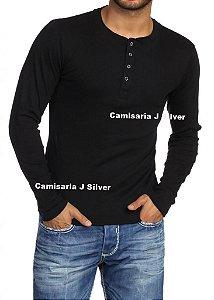 Camiseta HENLEY Classic Slim Fit Manga Longa Gola Redonda - PRETA  / VERMELHO