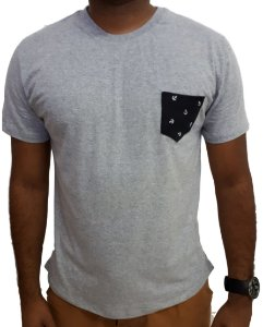 Camiseta SAILOR Slim Fit Manga Curta - 100% Algodão Fio 30 - CINZA MESCLA