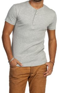 Camiseta HENLEY Classic Slim Fit Manga Curta Gola Redonda CINZA MESCLA