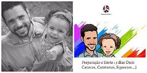 KIT DIA DOS PAIS 3 PEÇAS  - (1 CAMISA SLIM + 1 MALHA HENLEY + 1 CANECA PERS. COM CARICATURA ARTÍSTICA)