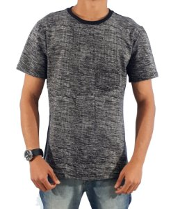 Camiseta TECHNO GREY Manga Curta Grafite/Preto - SLIM FIT 100% ALGODÃO
