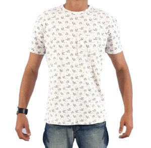 Camiseta TECHNO WHITE Manga Curta Branco/Tulip - SLIM FIT 100% ALGODÃO