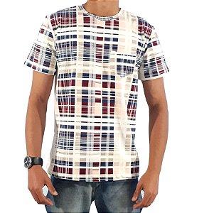Camiseta TECHNO GEO Manga Curta Branco/Geo - SLIM FIT 100% ALGODÃO