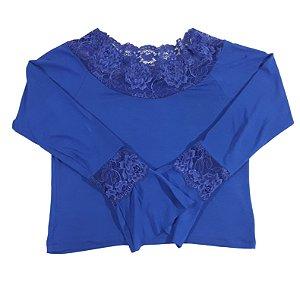Blusa com Renda em Viscose - Azul