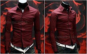 Camisa Slim Fit Clássica - 4 Cores (Azul, Branca, Cinza Royal, Vinho)