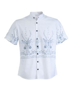 CAMISA SLIM FIT SUMMER MANGA CURTA - BRANCA TRIBAL