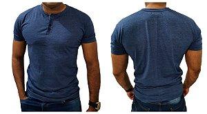 Camiseta HENLEY  Premium Slim Fit Manga Curta - AZUL