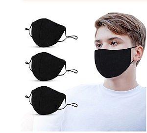 Kit Com 5 Máscaras De Tecido Dupla Proteção Lavável - BRANCA OU PRETA