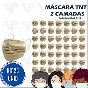 Kit Com 25 Máscaras Descartável - TNT - Dupla Proteção - Marrom