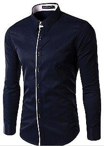 Camisa Slim Versati Azul Devivo Branco